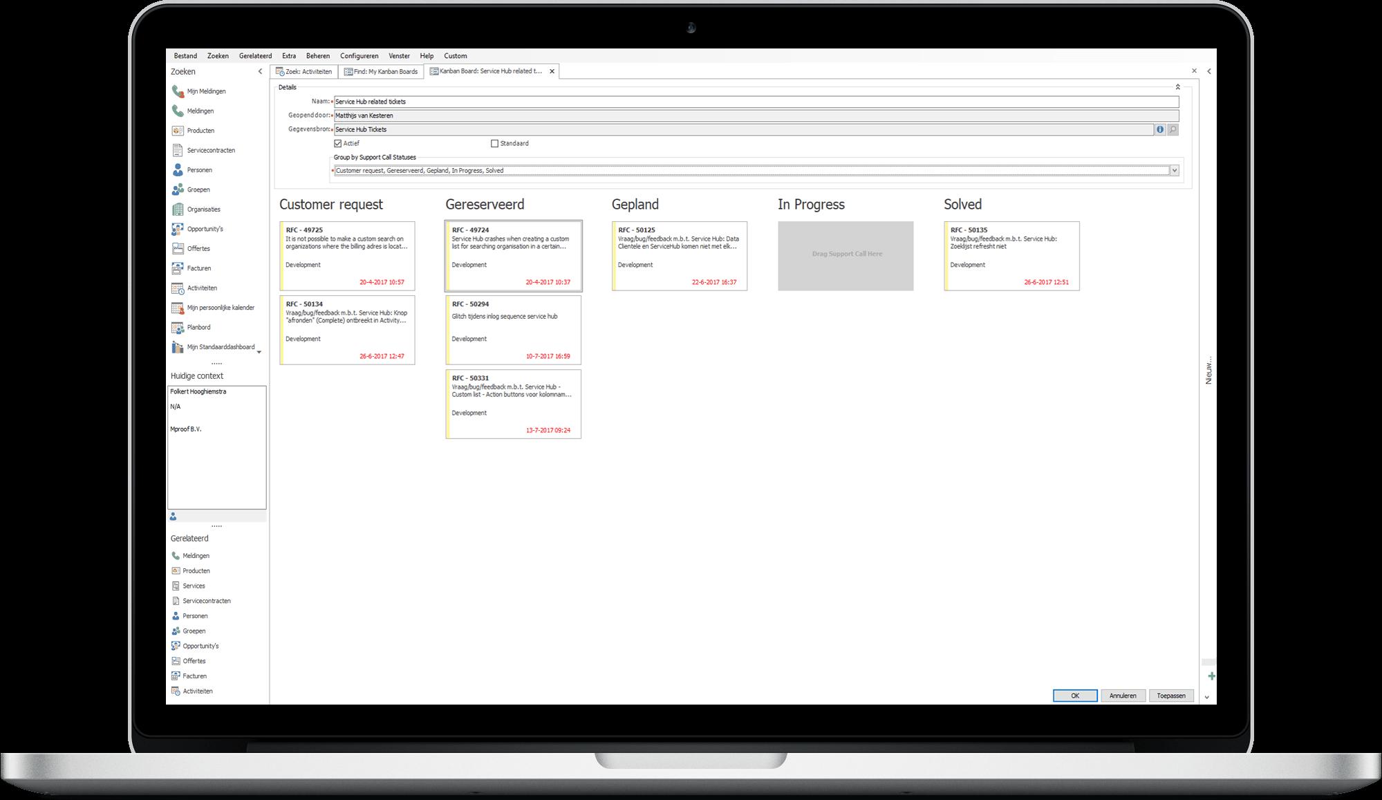 Met het uitgebreide kanban bord in Clientele ITSM krijgt u grip op uw ITIL software en ITSM processen.
