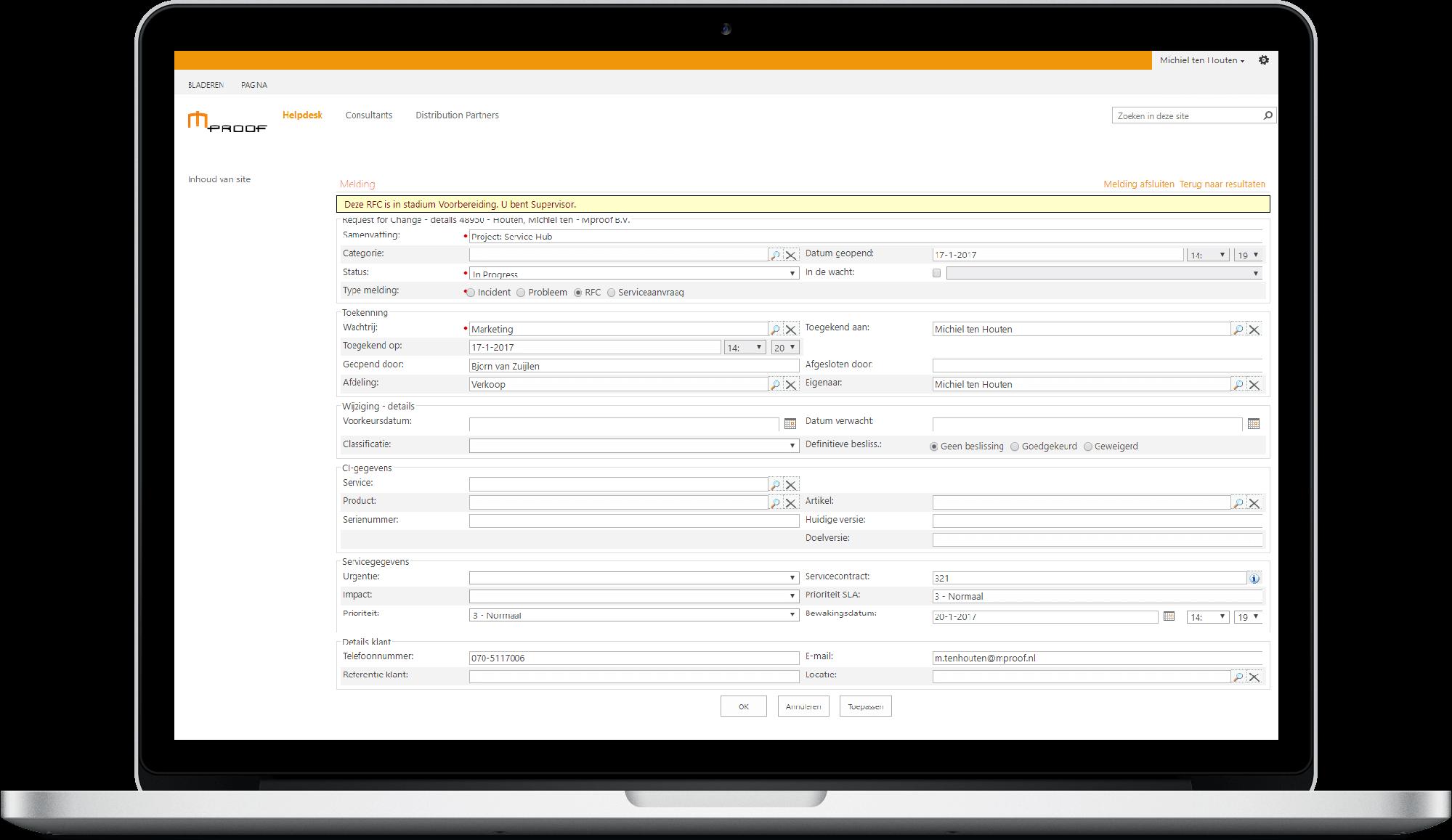 Meldingen aanmaken in Clientele ITSM, ons TOPdesk alternatief.